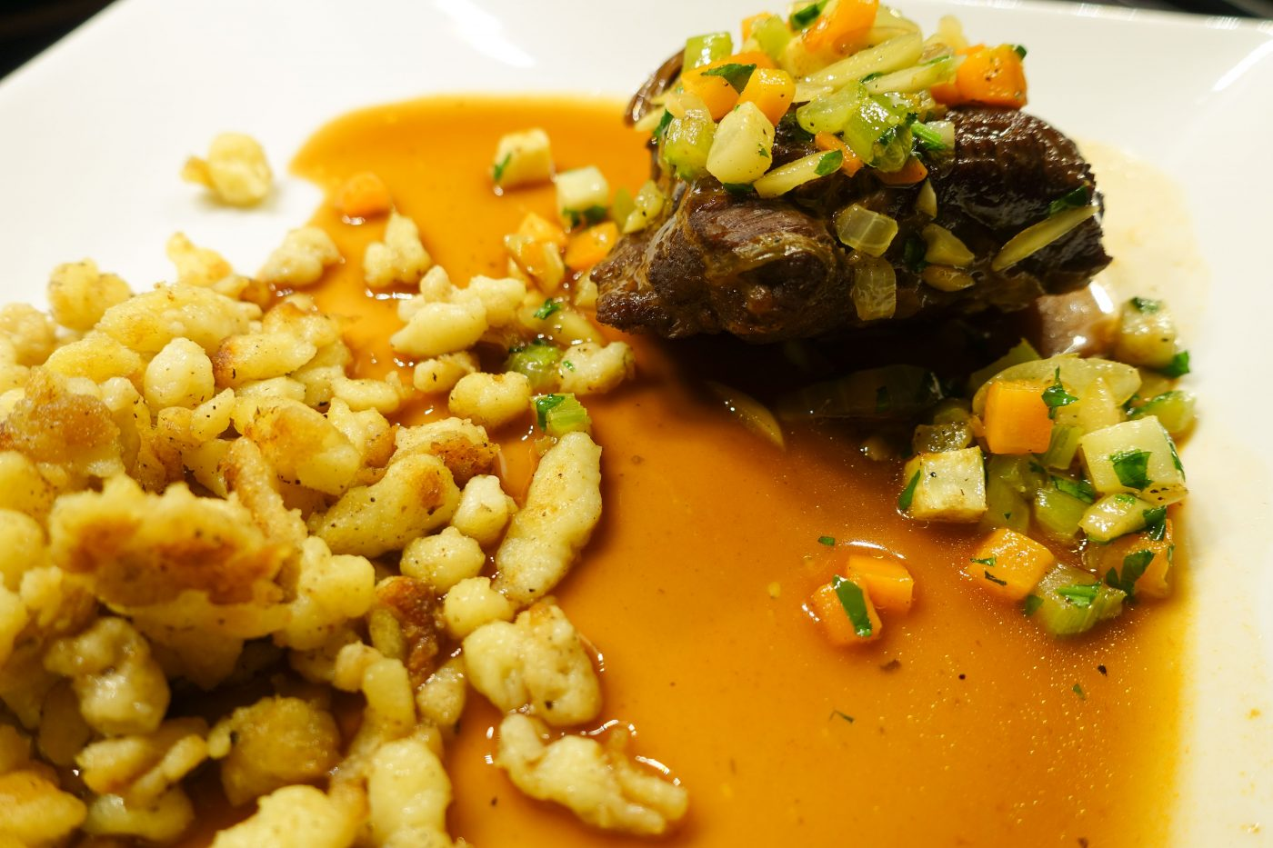 Braised Veal Cheeks with root vegetables and Spaetzle