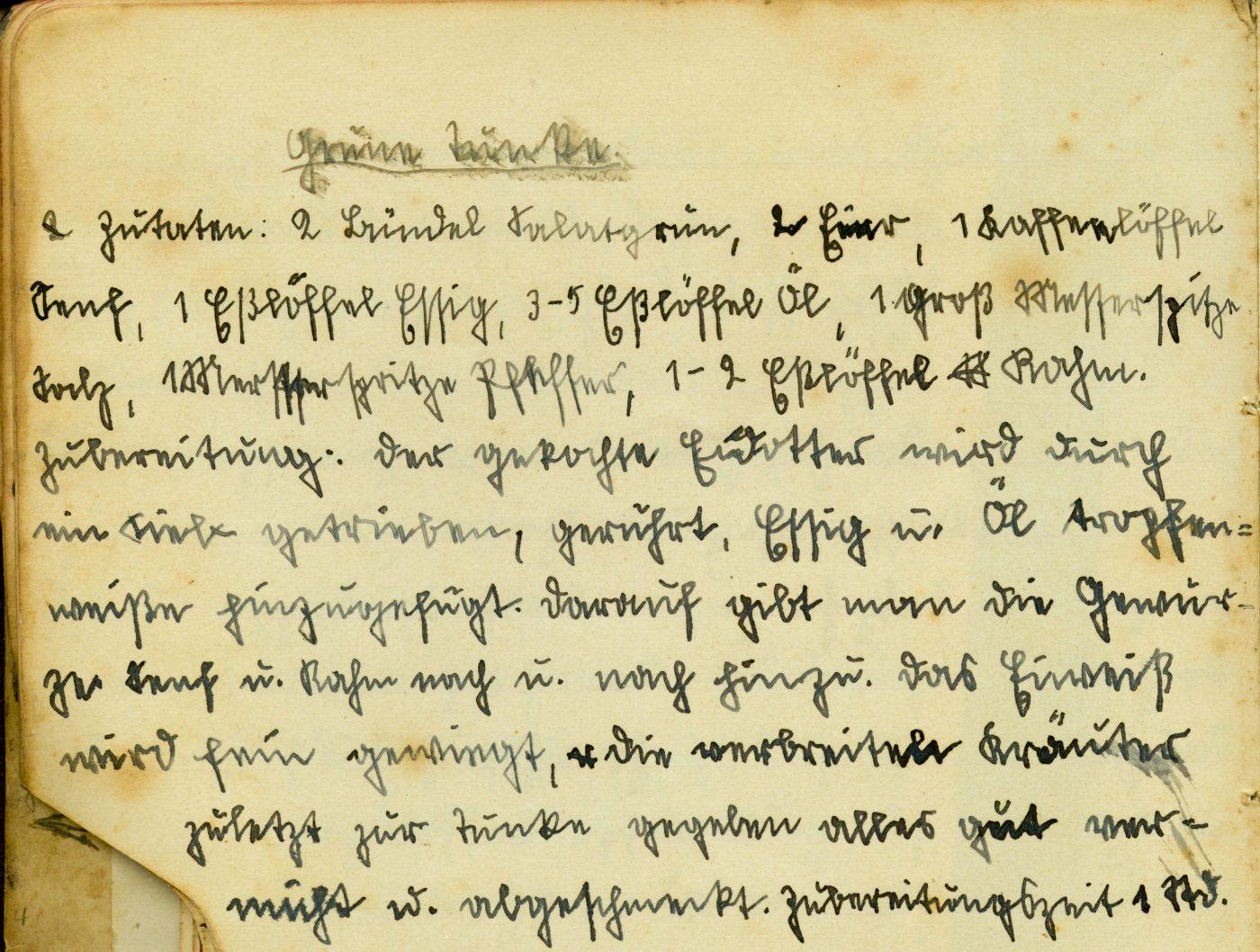 Grüne Sauce Rezept alte Handschrift