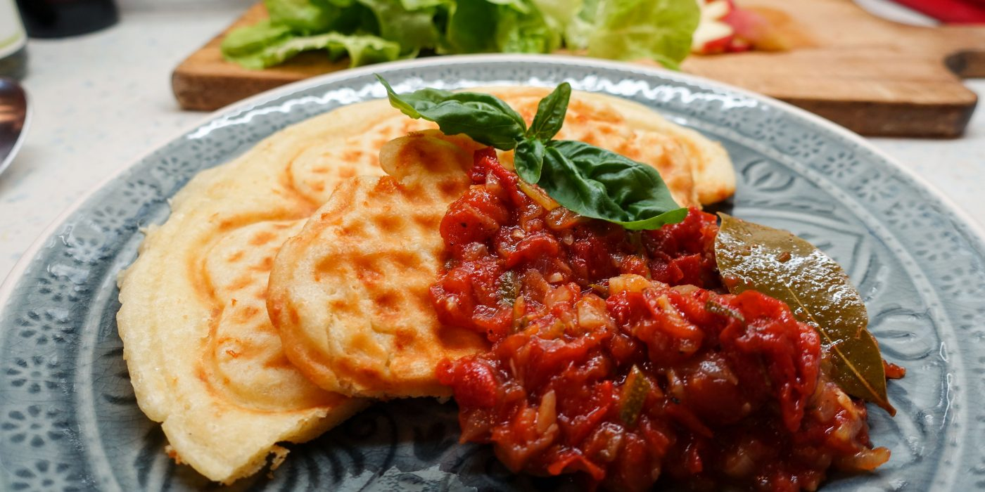 Cheese Waffles with Tomato Sauce