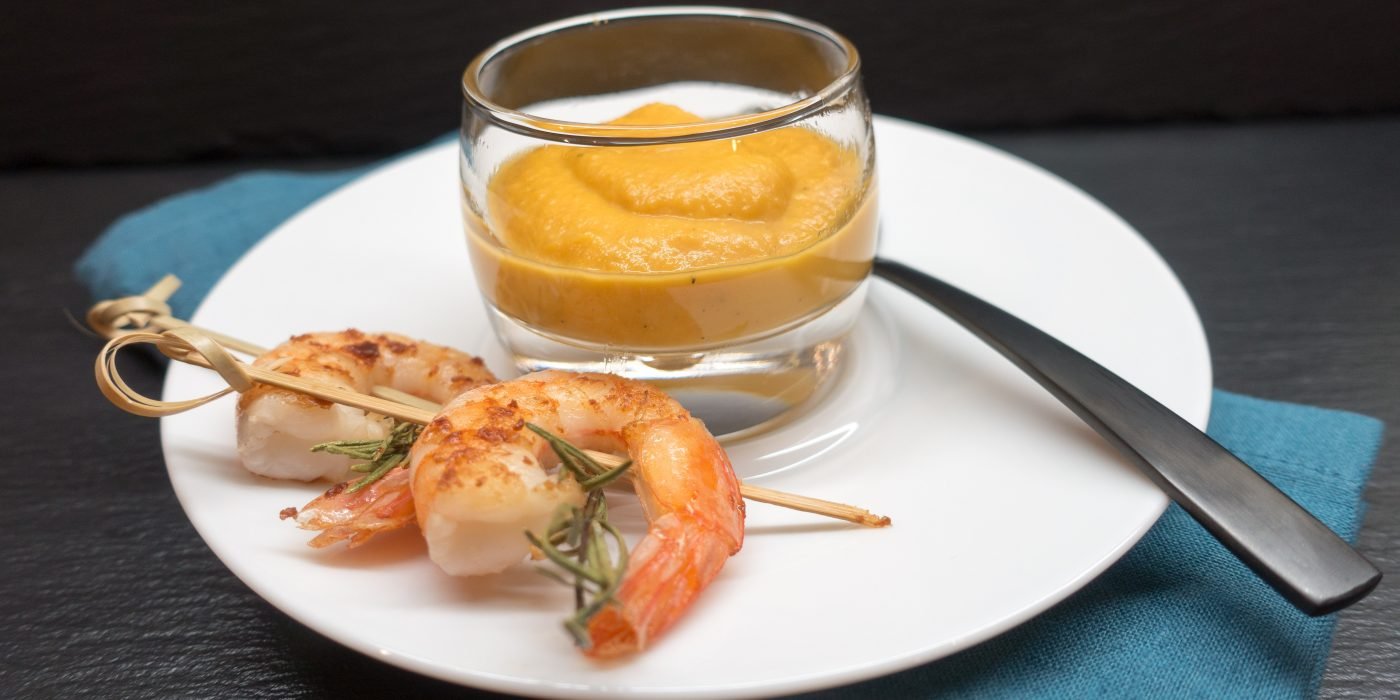 Sweet Potato Soup with Ginger and Shrimp