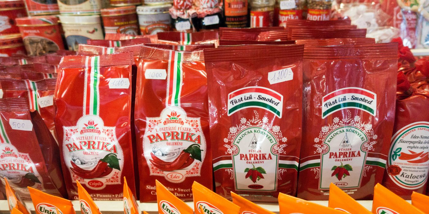 Red Bags of Paprika Powder displayed in Budapest's Great Market Hall