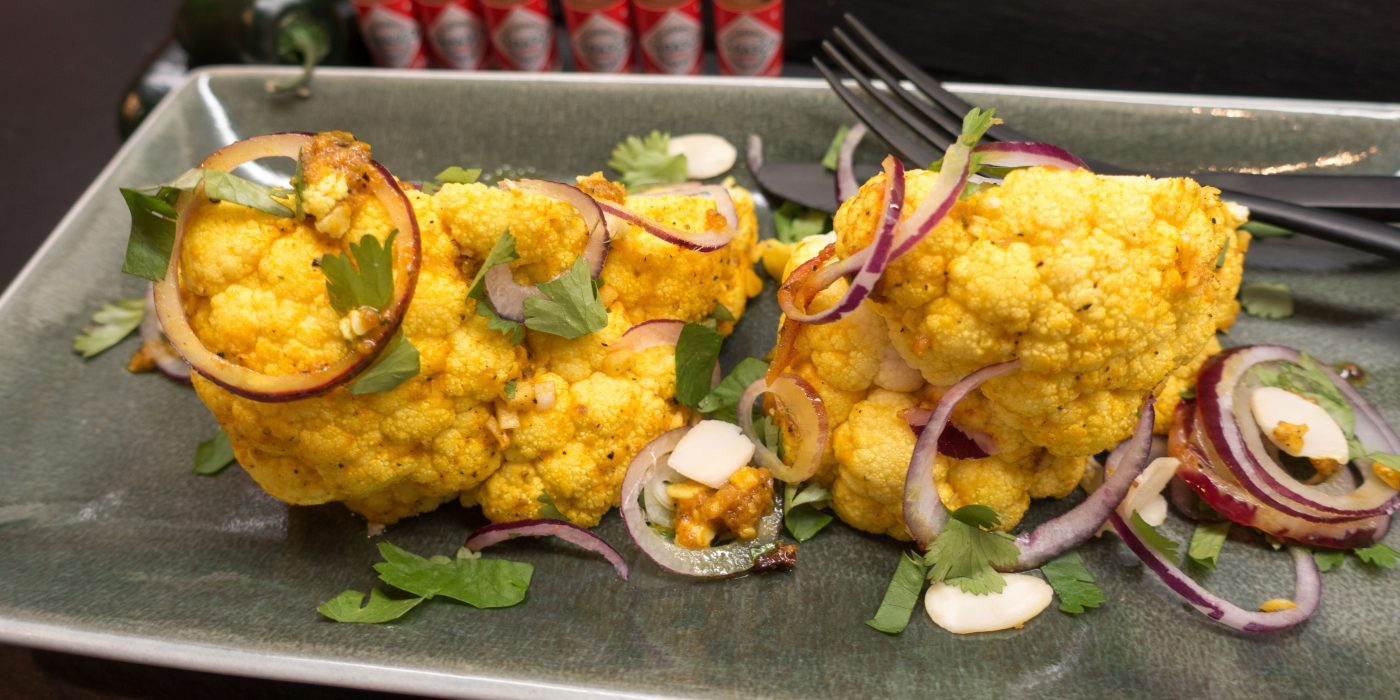 Spicy roasted cauliflower with Tabasco