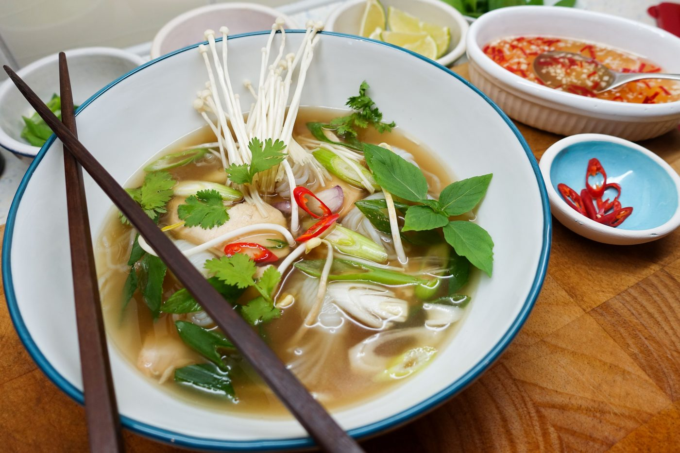 Pho Ga - Viatnamese chicken noodle soup with Enoki mushrooms