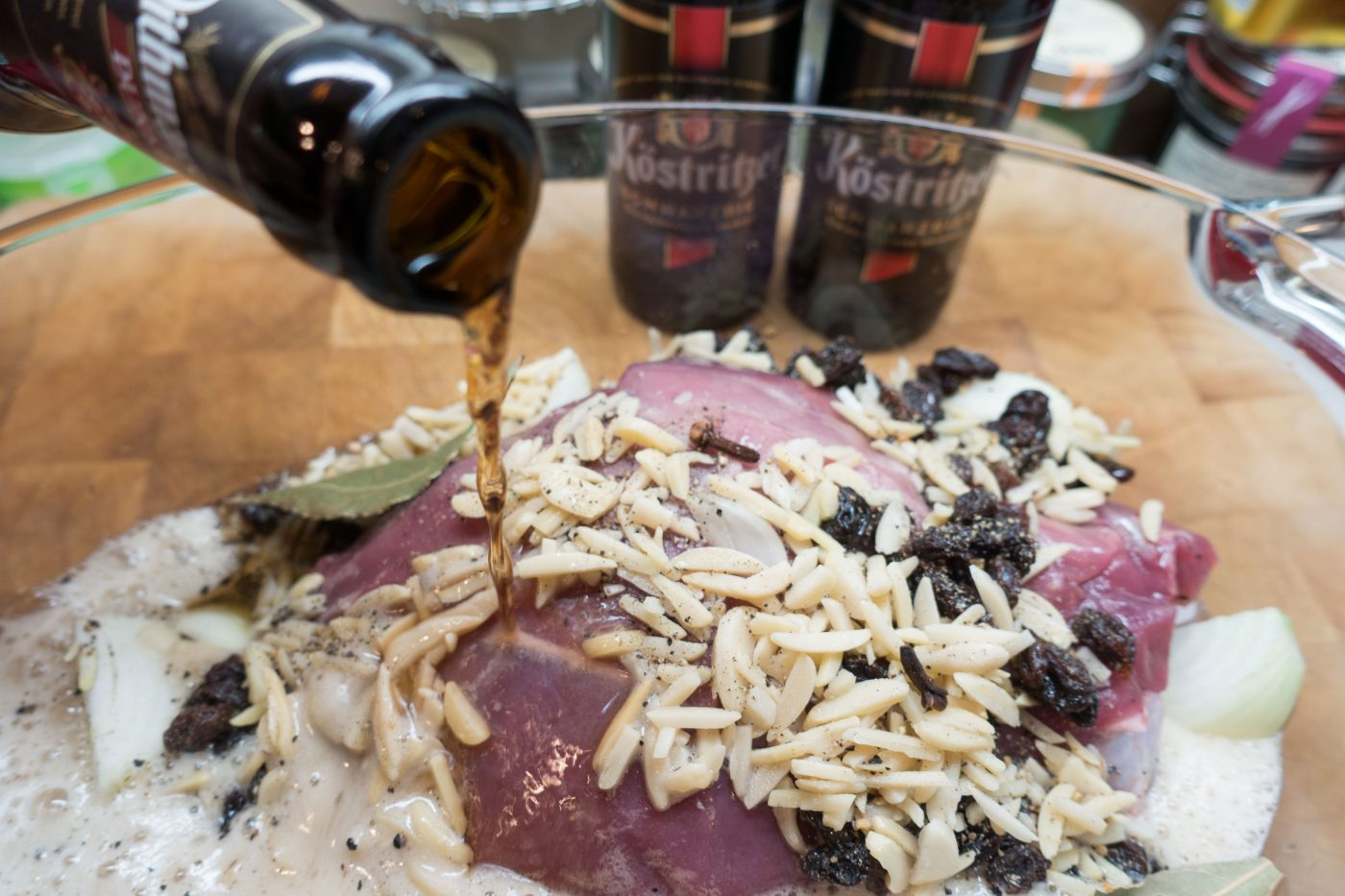 Sauerbraten of deer with dark beer