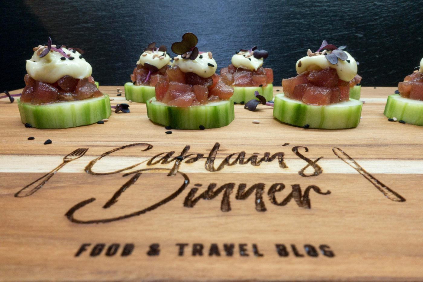 Tuna tartare on cucumber with wasabi mayonnaise