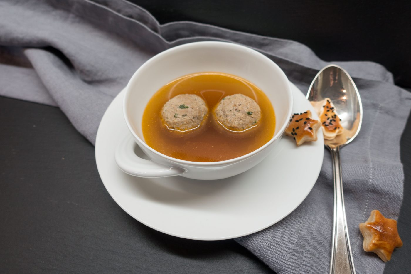 Game Consomme with deer dumplings