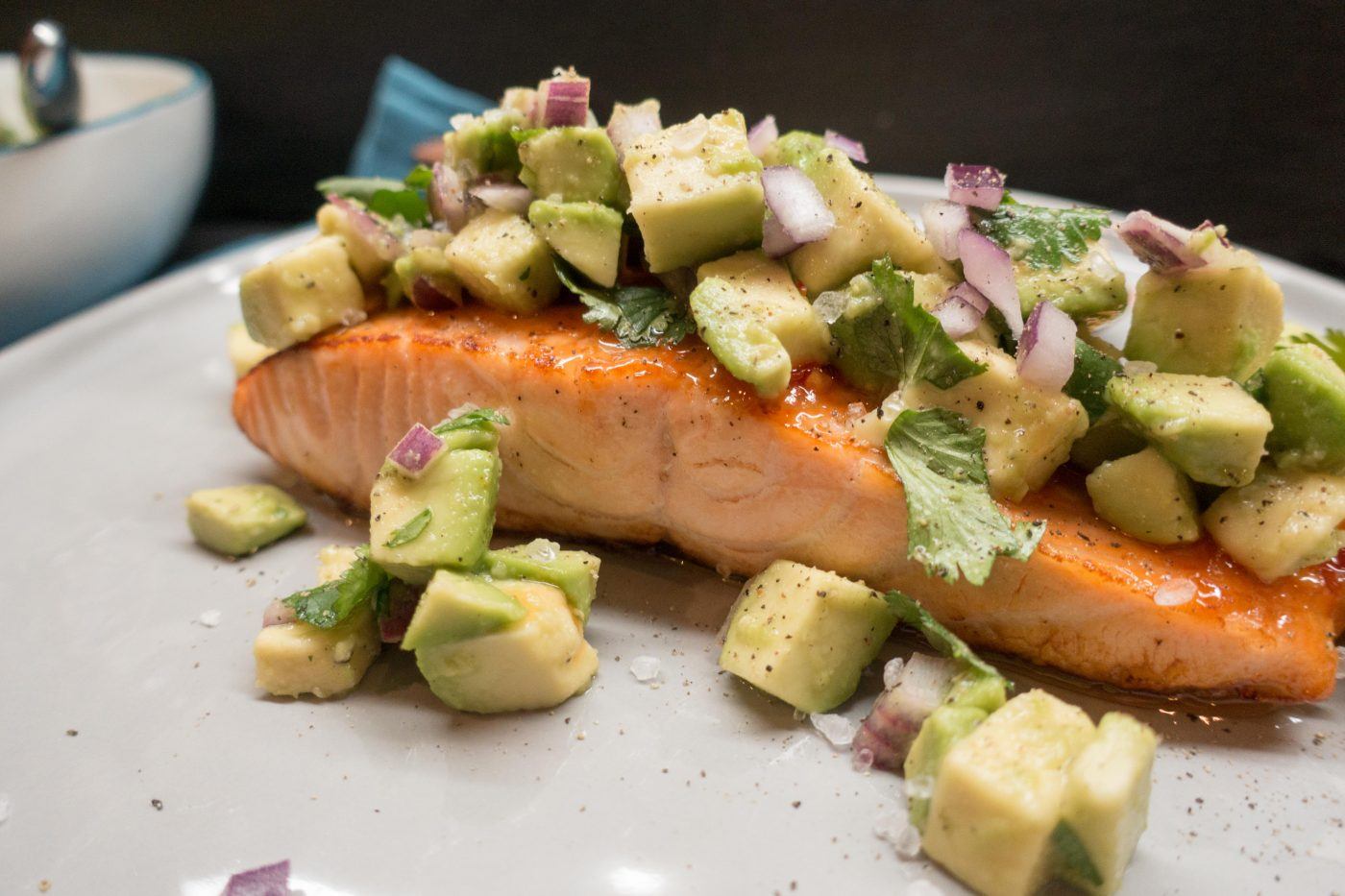Salmon with avocado and coriander salsa