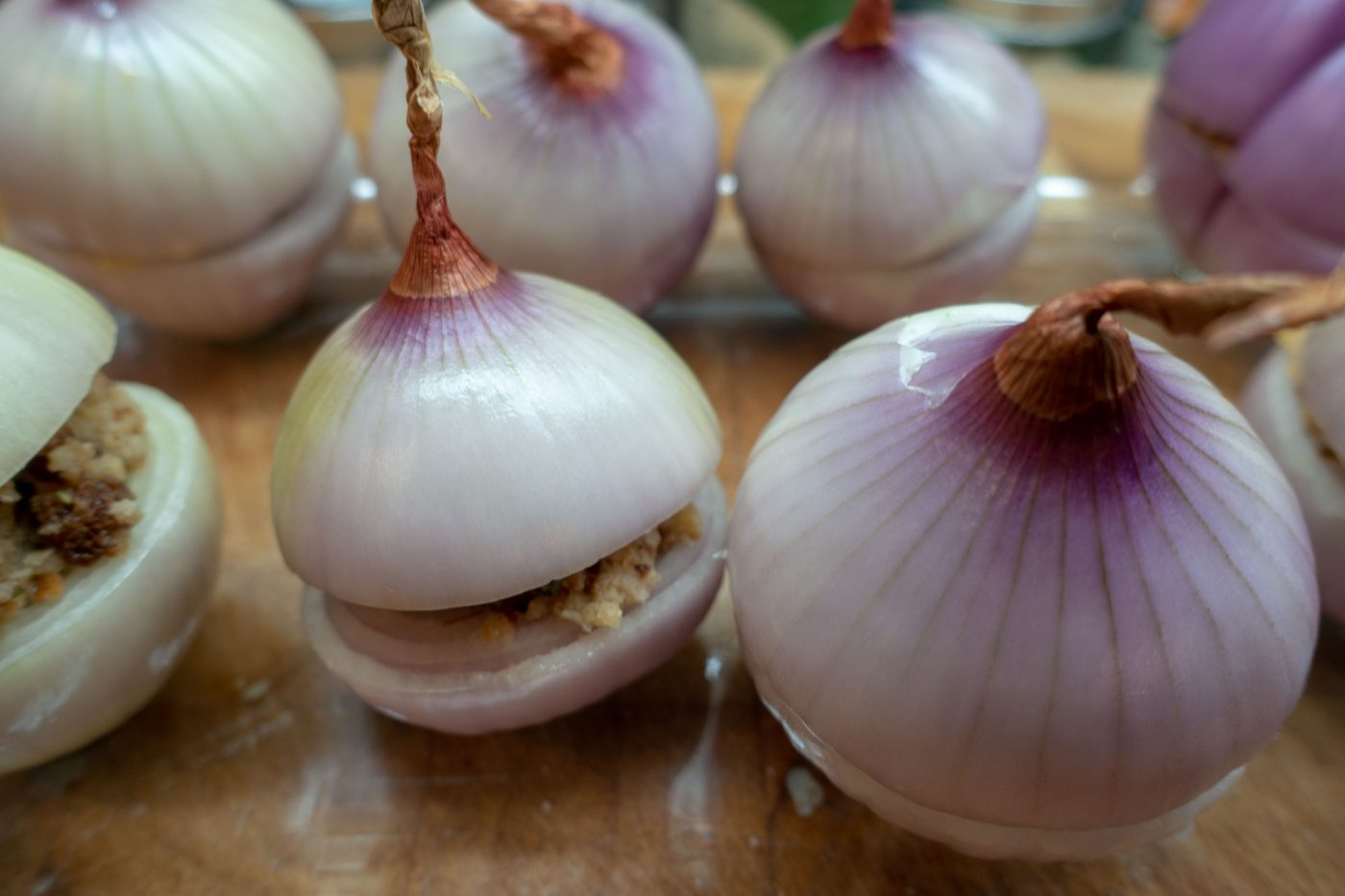 Pink Roscoff onions before baking