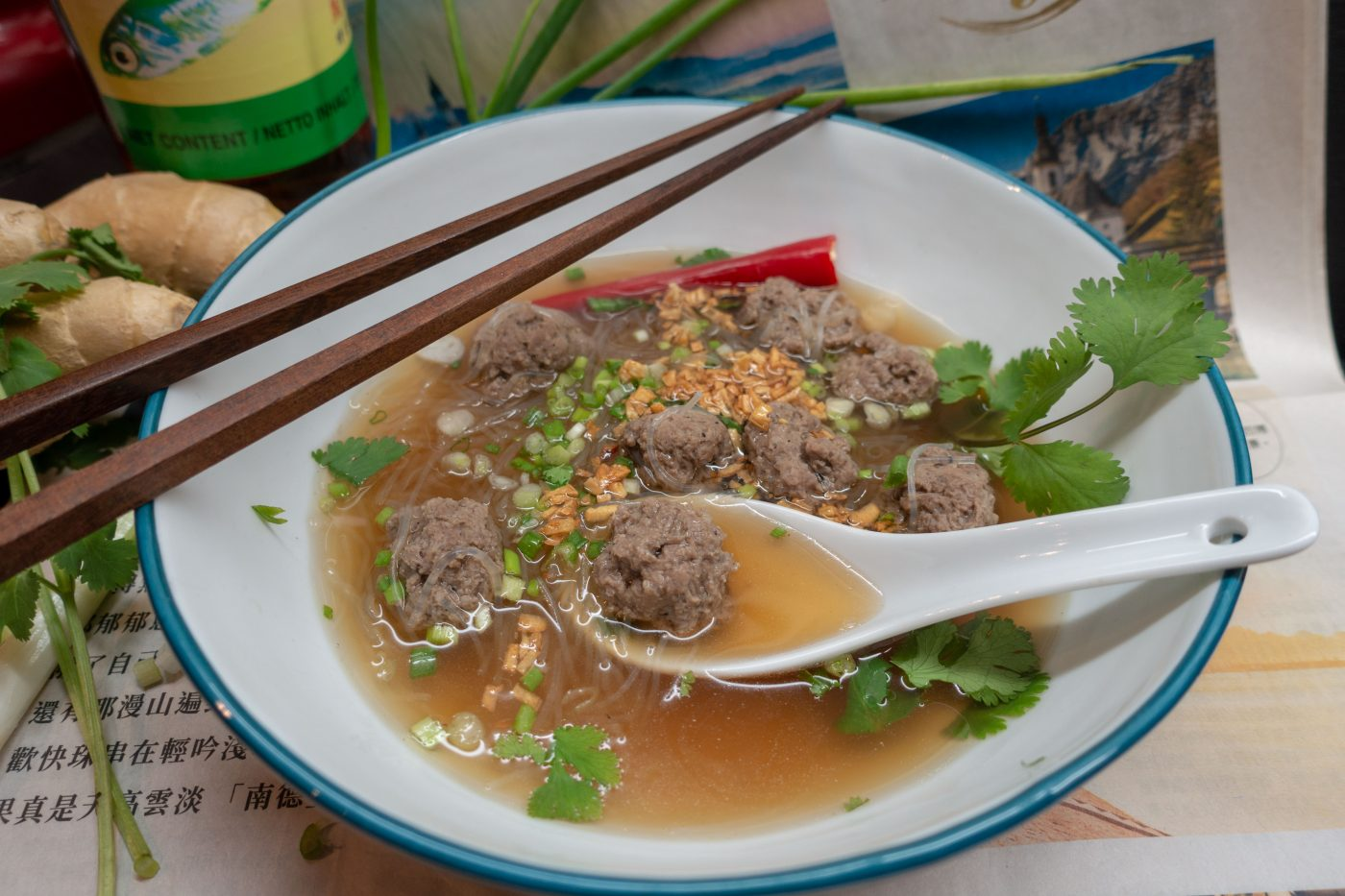 Thai glass noodle soup with meat balls