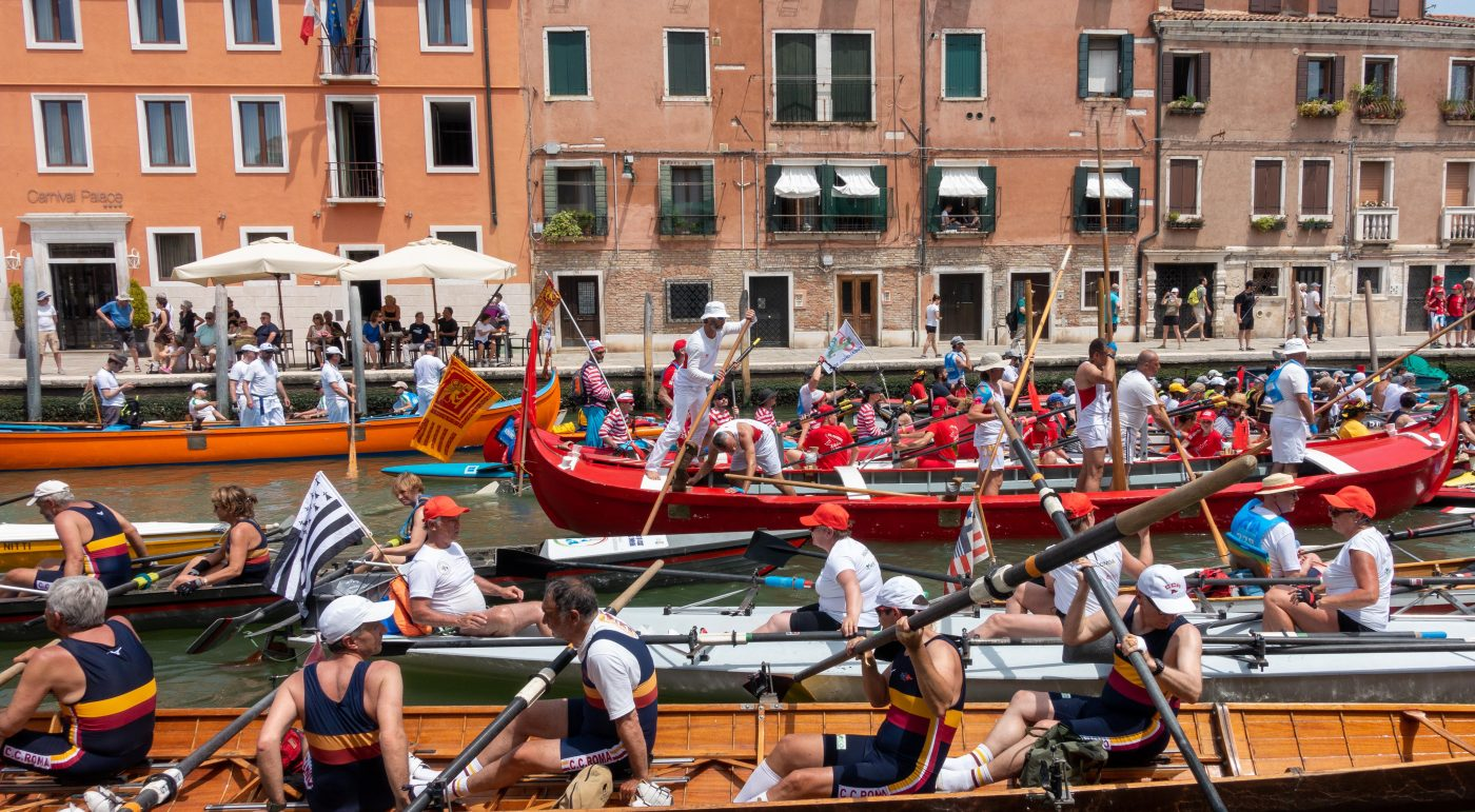 Rowing boats during Vogalonga race 2019 in Venice