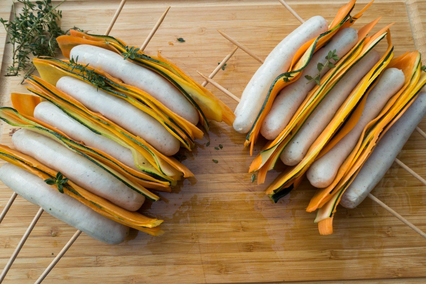 Bratwurst-Gemüse-Spieße