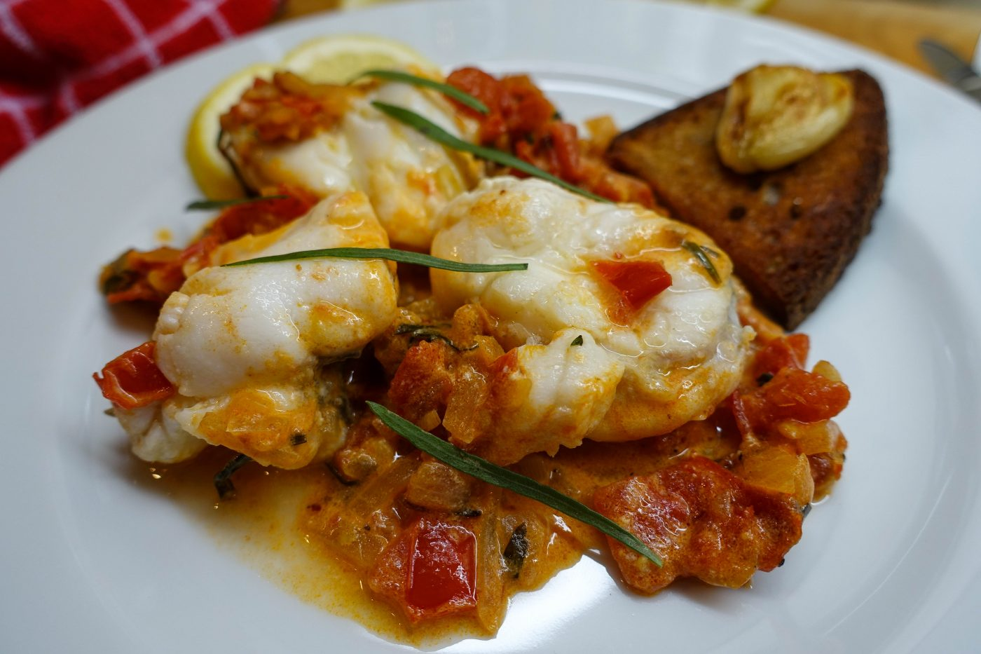 Monkfish ragout with vermouth sauce